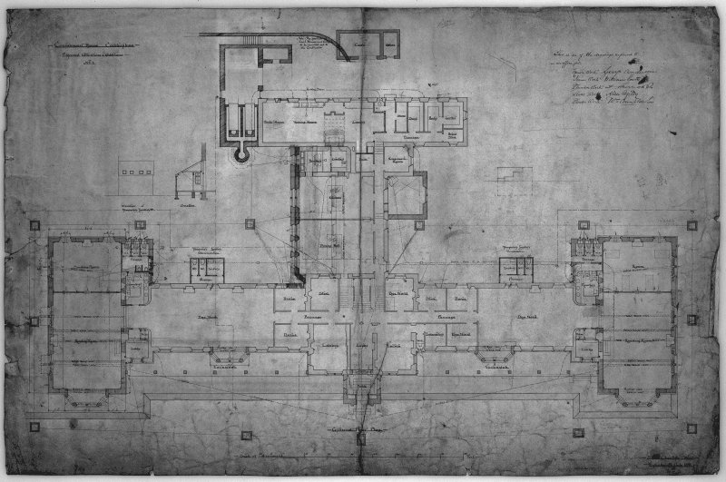 Plans, sections and elevations of later additons and alterations. Scanned image of E 10553.