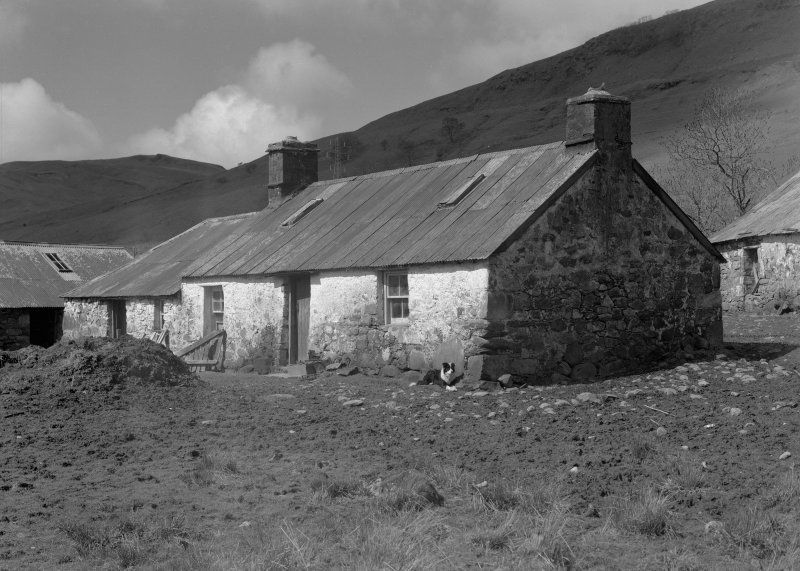 Auchindrain, Building H. View of house and byre.