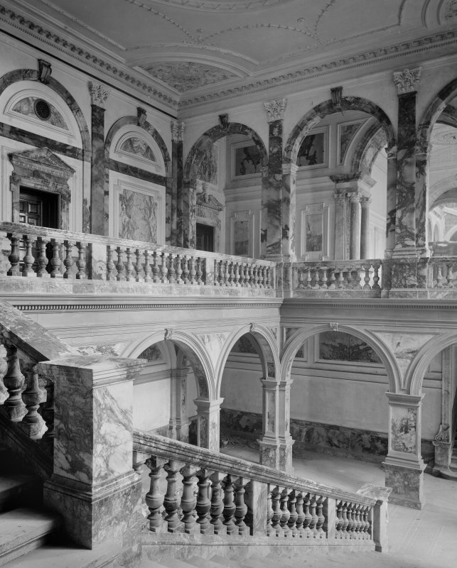 Interior-general view of marble staircase and upper landing Digital image of B 64026
