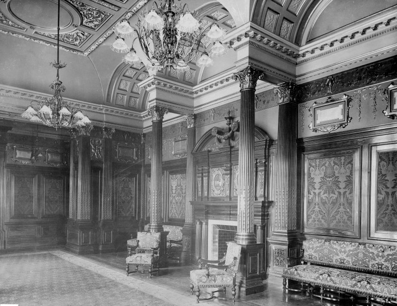 Interior-general view of meeting room showing corinthian columns surrounding fireplace Digital image of B 64053
