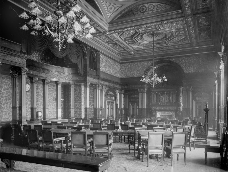 Interior-general view of meeting room with large tables and monogrammed chairs Digital image of B 64057