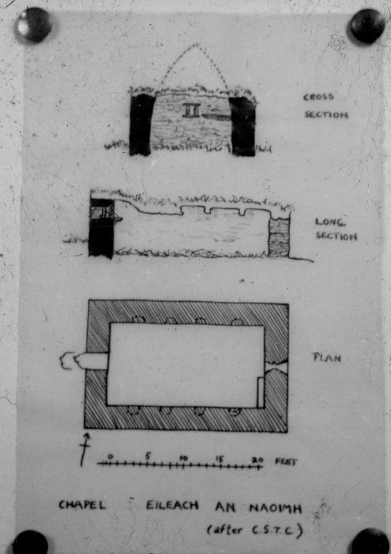 Black and white slide, showing possibly published plan of chapel on Eileach an Naiomh after  CST Calder NMRS Survey of Private Collection Digital Image Only