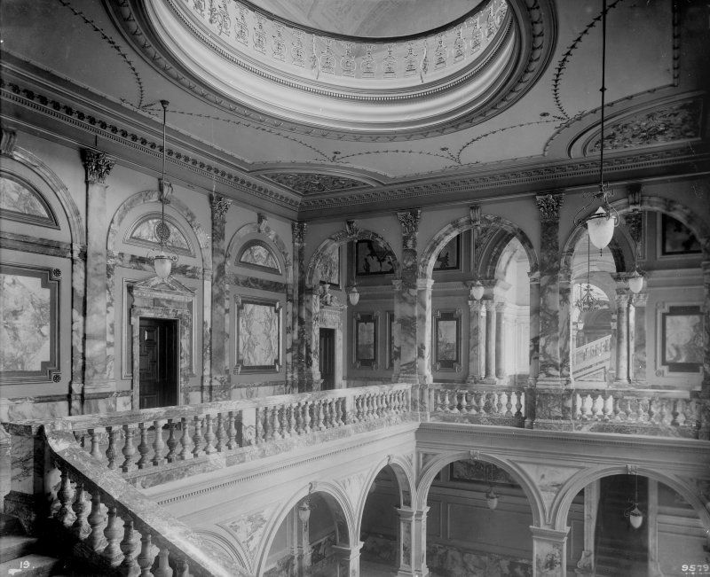 Interior-general view of marble staircase and upper landing