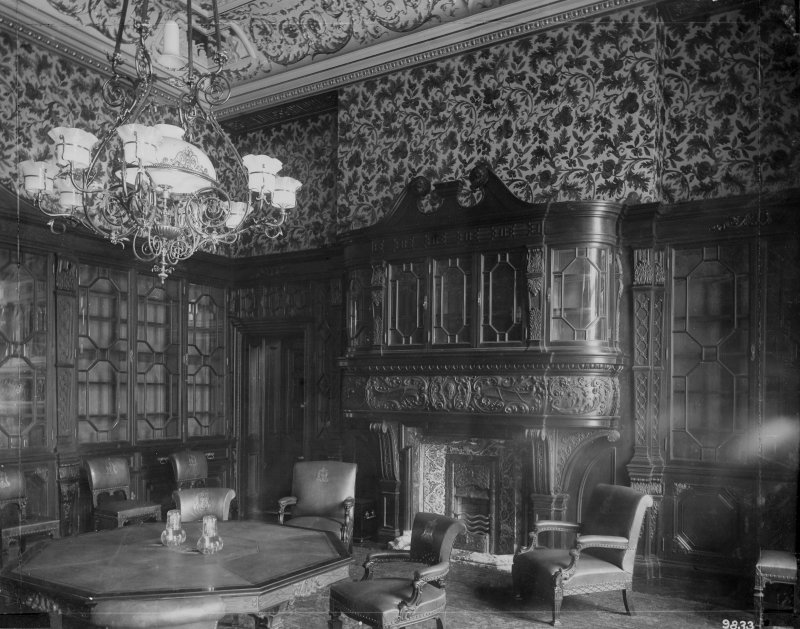Interior-general view of meeting room with table and chairs in front of ornamental fireplace Digital image of B 64055
