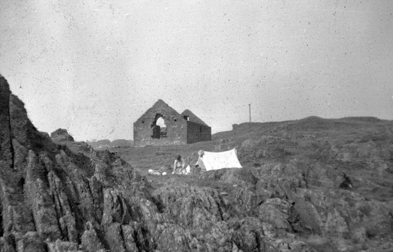Black and white slide, view of Saint Ninian's Kirk Isle of Whithorn NMRS Survey of Private Collection Digital Image Only