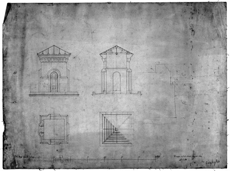 "31, 33, 35 Lynedoch Place, Free Church College Photographic copy of Pen, ink and pencil 1"":5' elevations and plans Original titled: 'For Free Church College  Glasgow, 33 Bath Street  August 1859  138/10216'"