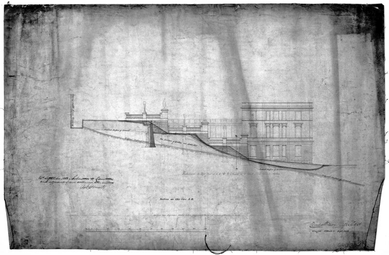 Glasgow, Park Gardens Photographic copy of plan for screen wall, section and elevation for stairs, with hand written notes by Rob Stewart, Lord Provost. Insc:'Section on the Line A-B' 'Charles Wilson, Architect, Glasgow, 33 Bath Street, Sept 1853'. Pen, ink, wash.