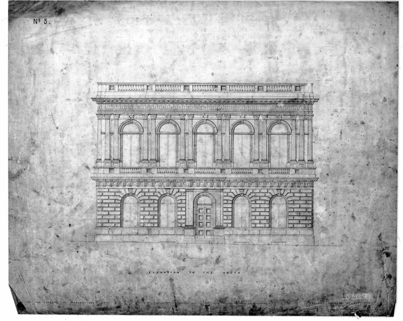 Royal Faculty of Procurators' Hall Photographic copy of elevation Titled: 'Elevation to the South  Glasgow 33 Bath St.  Sept. 1854  for the Faculty of Procurators' Signed: 'Charles Wilson'