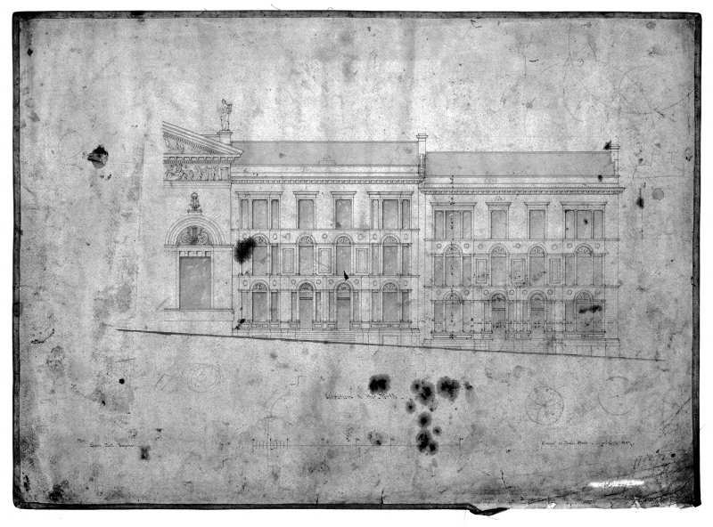 Glasgow, 1 La Belle Place, Queen's Rooms. Photographic copy of elevation to North. Insc: 'Elevation to the North'. Signed: 'Charles Wilson, 33 Bath Street, Glasgow. 1857'.