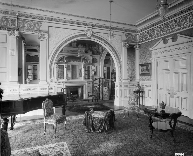 Interior-general view of Music Room with piano to left of photograph