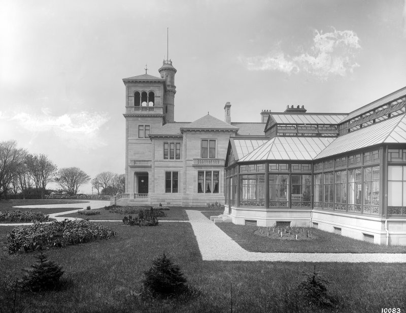 Seafield House, Ayr, view of entrance elevation with conservatory in foreground.