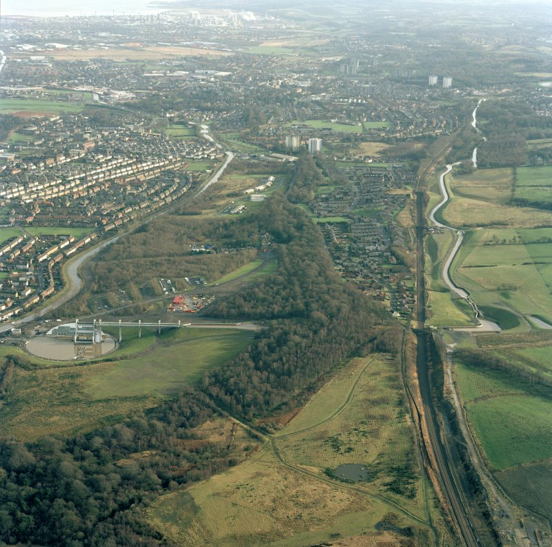 Oblique aerial view of the Antonine Wall running through Falkirk and the Falkirk Wheel, taken from the W.