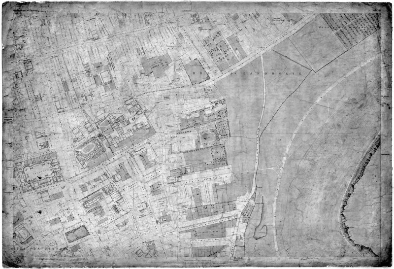 Ordnance Survey Map of Edinburgh. Black and white 1st edition 'Edinburgh and its Environs', Sheet 36. Includes Holyrood Park,  Canongate,  Royal Infirmary,  High School of Edinburgh and Edinburgh University Old College.