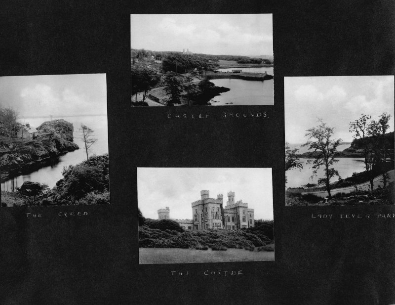 Stornoway, Lewis Castle and grounds. View of River Creed with cottage. Insc: 'The Creed'. Distant view of Castle and grounds. Insc: 'Castle Grounds'. View of Lady Lever Park. Insc: 'Lady Lever Park'.  ...