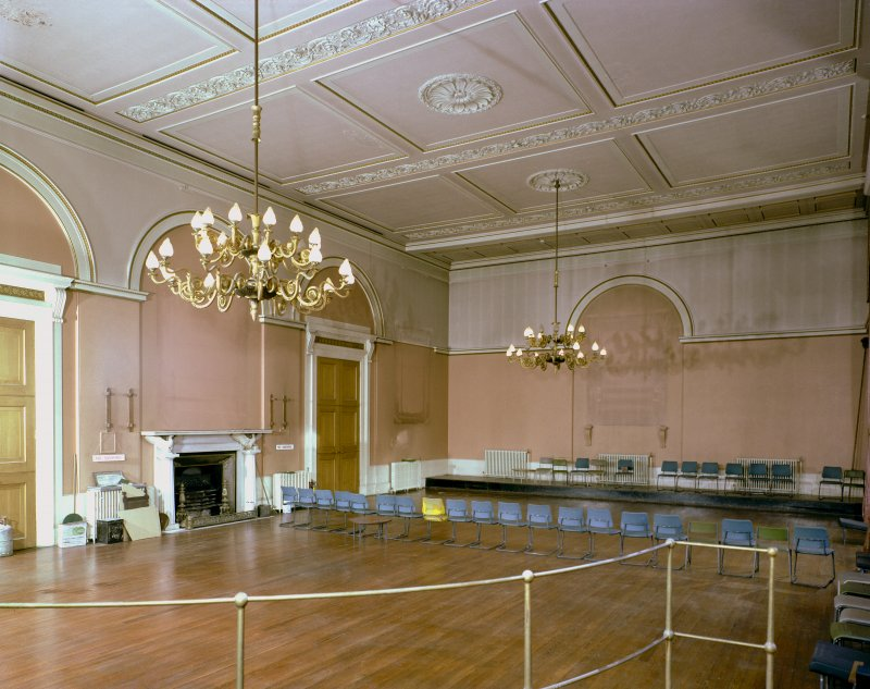 Perth, Tay Street, County Buildings. Colour view of Ballroom.