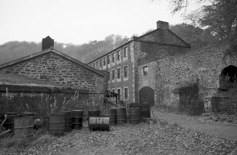 View from SW showing part of SSW front of Dyeworks with Engineer's Shop in background