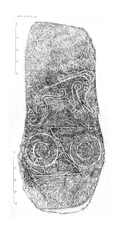 Dyce no 1, composite digital image of rubbing of Pictish symbol stone.