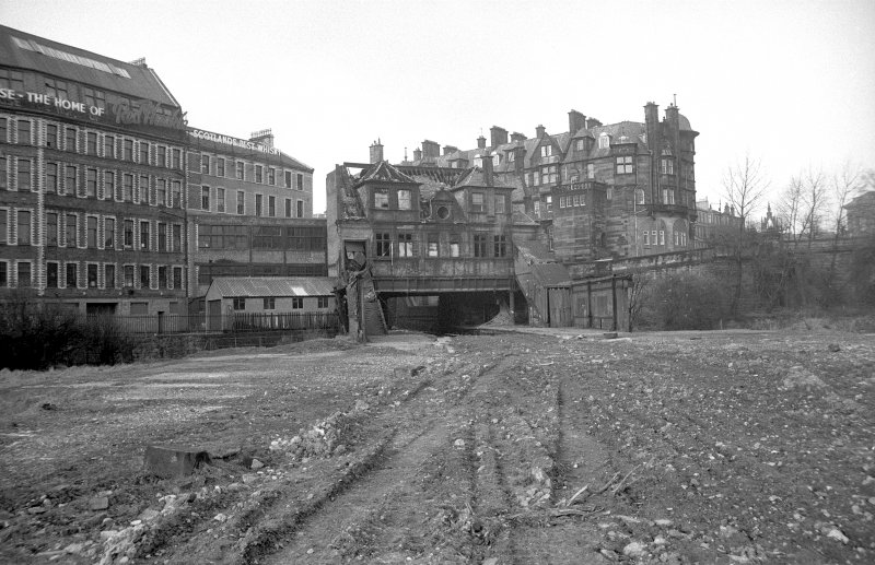 View from S showing SSE front of offices of station with part of Caledonian Mansions on right and warehouse and workshops on left