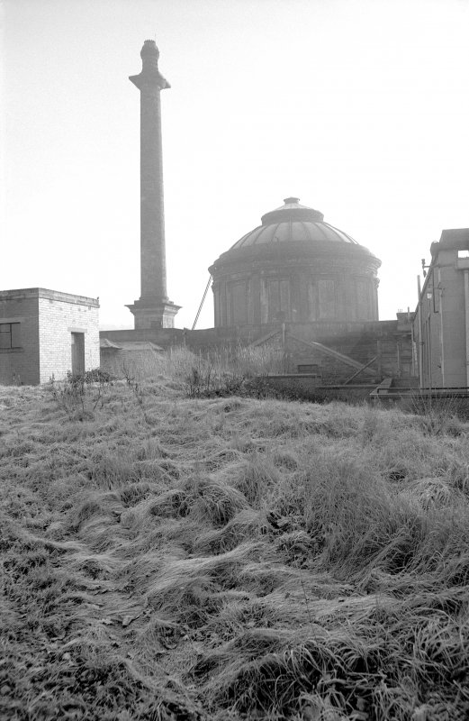 View from WNW showing WNW front of original circular building with chimney on left