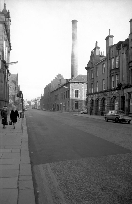 View from SSW showing W front (Kinnoull Street front) and part of S front (Mill Street front) of works with part of 31-33 Kinnoull Street in foreground