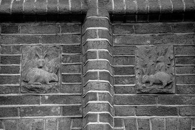 Detail of rabbit panels on North facade. Chaplepark, Ayr.