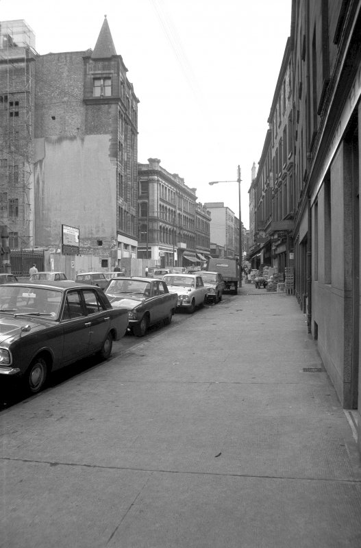 View looking E along Ingram Street with warehouses on left and fruit market on right