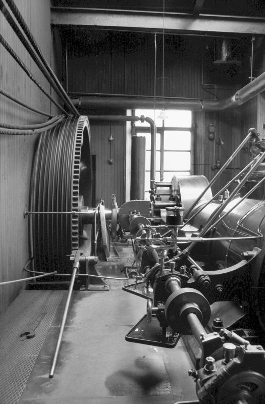 Interior View showing flywheel and valve gear of Douglas and Grant Tandem Compound Engine