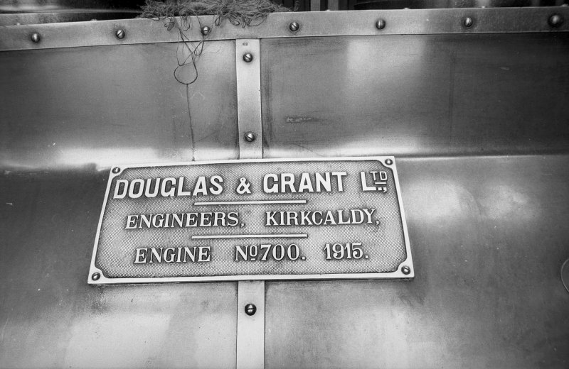 Interior View showing name plate of Douglas and Grant Tandem Compound Engine which is inscribed 'DOUGLAS & GRANT LTD., ENGINEERS, KIRKCALDY, ENGINE NO. 700. 1915.'