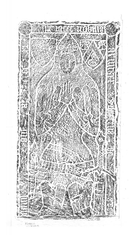 Kinkell Church, composite digital image of rubbing of grave-slab for Gilbert of Greenlaw (effigy).