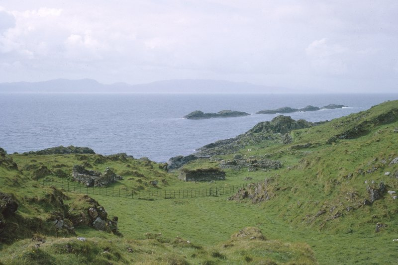 "Copy of colour slide showing distant view of monastery area from roughly E.S.E. Insc: "" Eileach an Naoimh: the monastery  NMRS Survey of Private Collection Digital Image Only"