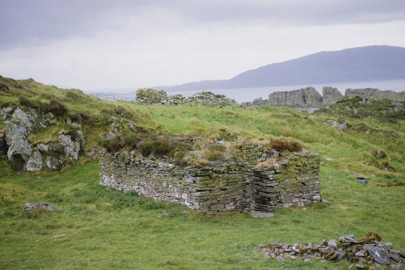"Copy of colour slide showing view of chapel Insc: ""Eileach an Naoimh:  Church....L. 21ft. 6ins. B 11ft. 3ins. Est. height to apex, 15ft."" NMRS Survey of Private Collection Digital Image Only"