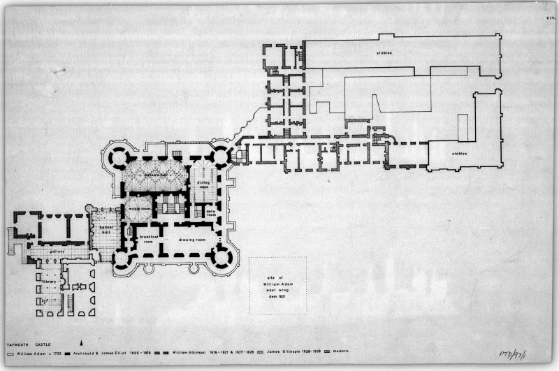 Taymouth Castle. Digital image of PTD/97/1/P. Photographic copy of ground floor plan and plan of floor of office with site of William Adam East wing marked and stages of construction indicated. Titled: 'Taymouth Castle'.