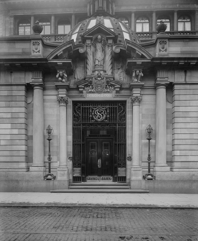 View of entrance to the Glasgow Savings Bank, Ingram Street, Glasgow.