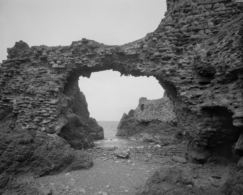 Dunbar Castle, view of covered passage from castle to blockhouse from SW. Digital image of EL/3759.