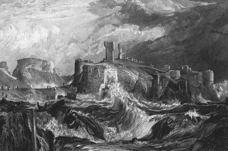 Dunbar Castle, digital image of engraving copied from Sir Walter Scott, 'Provincial Antiquities of Scotland', 1826.