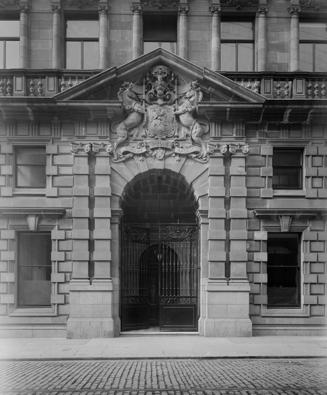 View of entrance doorway. National Bank of Scotland, St Vincent Street, Glasgow.
