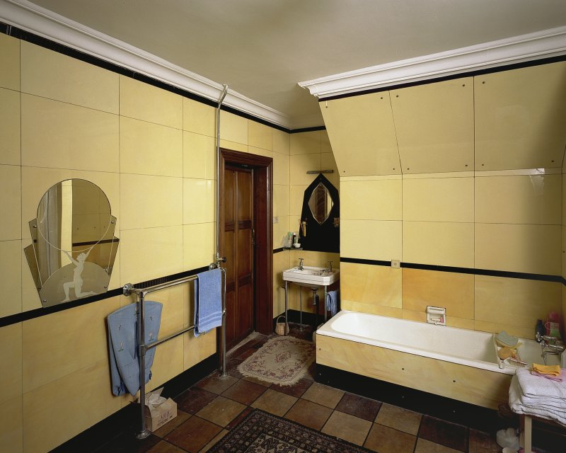 Interior-detail of Art Deco mirror in North West bathroom. Digital image of B 57276 CN.