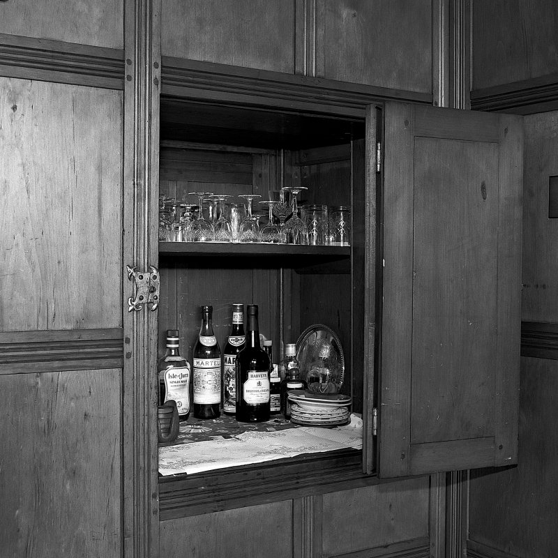 Detail of drinks cabinet in lounge (open). Digital image of B 57287.