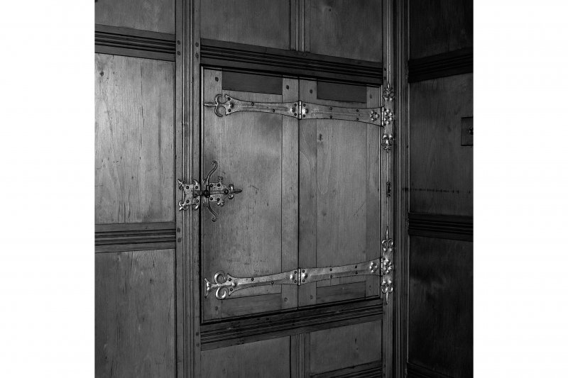 Detail of drinks cabinet in lounge (closed). Digital image of B 57286.