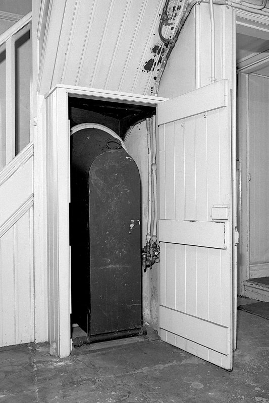 Detail of 'Savaspace' bath-in-a-cupboard in the ground floor laundry (with door open showing bath in upright position). Digital image of B 57283.