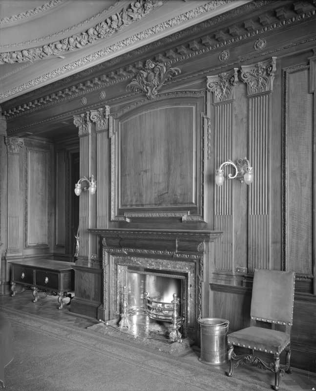 Interior -view of fireplace in dining room