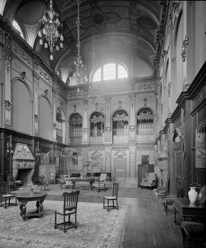 View of the great hall, Craighouse Asylum, Edinburgh. The building is now part of Napier University.