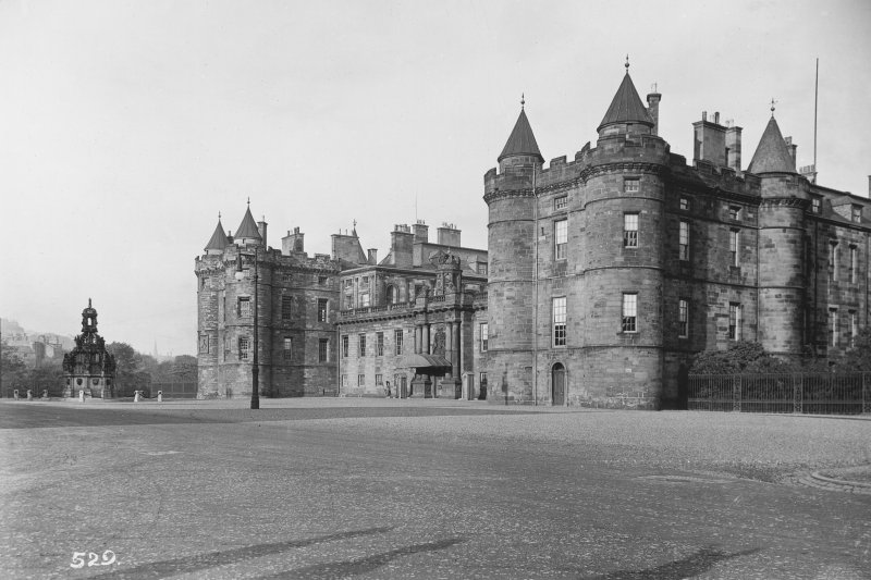 General view of main entrance front of Holyrood Palace, showing James IV's Tower and Fountain Photo collection: A Brown & Co, Lanark.