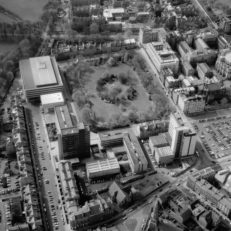 Oblique aerial view of Edinburgh University, George Square seen from the West South West.