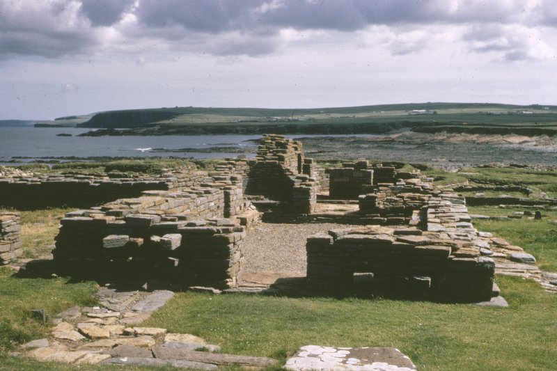 "Copy of colour slide showing view of cathedral, Brough of Birsay, Orkney Insc: "" Cathedral, Brough of Birsay, Orkney (mid 11th century?) with alterations. H.C. Steven NMRS Survey of Private Collection  Digital Image Only"