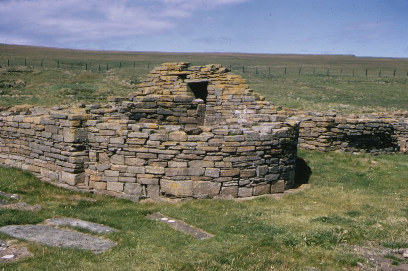 "Copy of colour slide showing view of Norse cathedral, apsidal east end, Brough of Birsay, Orkney Insc: "" Cathedral - Apse, Brough of Birsay, Orkney . H.C. Steven 1967"" NMRS Survey of Private Collection  Digital Image Only"