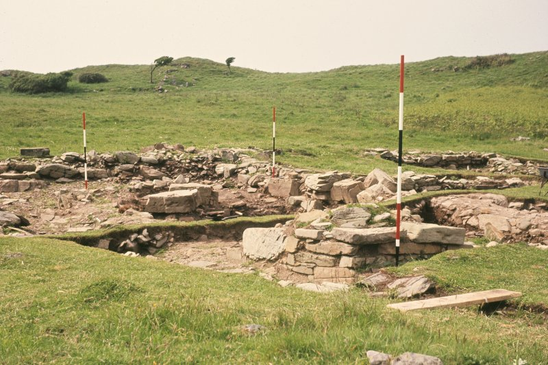 Copy of colour slide showing general view of site, chapel indicated by poles. Ardwall Island, Dumfries and Galloway NMRS Survey of Private Collection Digital Image Only