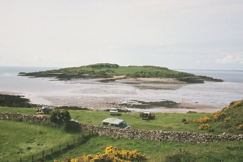 Copy of colour slide showing general view of Ardwall island, viewed from shore. Ardwall Island, Dumfries and Galloway NMRS Survey of Private Collection Digital Image Only