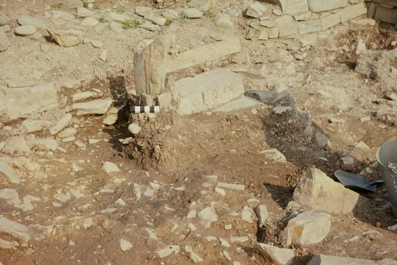"Copy of colour slide showing detail of altar in chapel.  Insc:"" Altar in chapel with bone fragments and flint scraper in position"" Ardwall Island, Dumfries and Galloway NMRS Survey of Private Collection Digital Image Only"