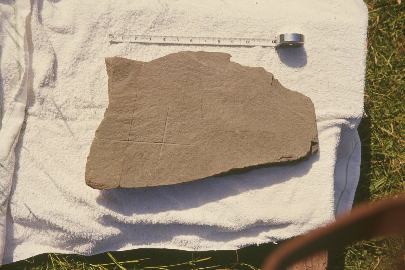 Copy of colour slide showing detail of incised cross slab. no. Ardwall Island, Dumfries and Galloway NMRS Survey of Private Collection Digital Image Only